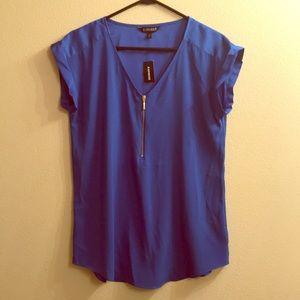 Express Royal Blue Women's V-Neck Cap Sleeve Top